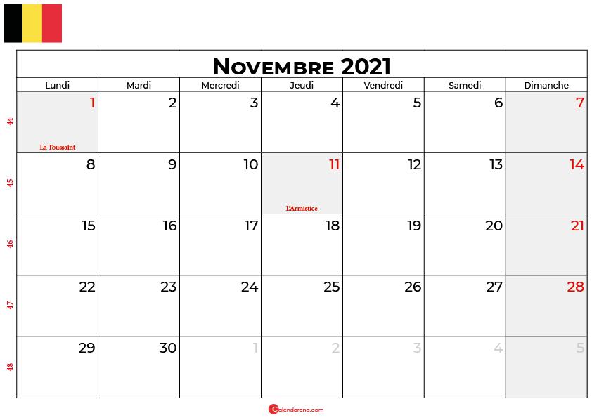 calendrier novembre 2021 belgique