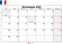 calendrier novembre 2021 france