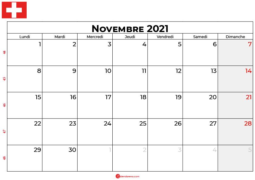 calendrier novembre 2021 swisse