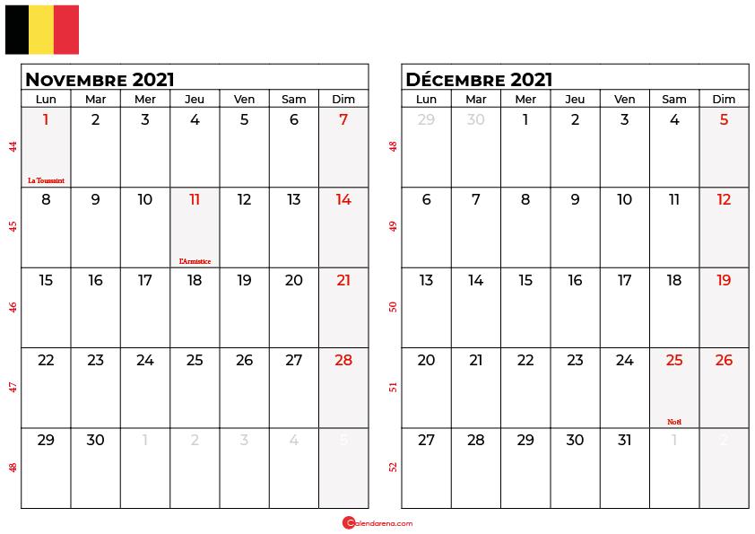 calendrier novembre decembre 2021 belgique