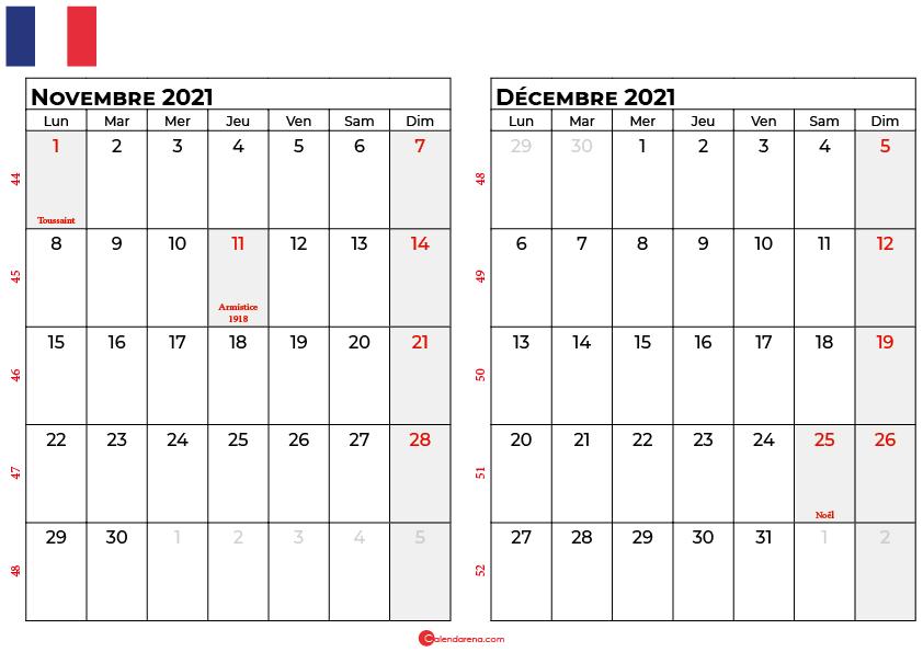 calendrier novembre decembre 2021 france