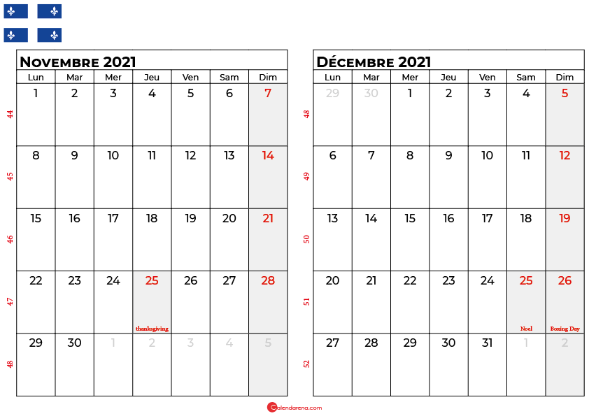 calendrier novembre decembre 2021 quebec