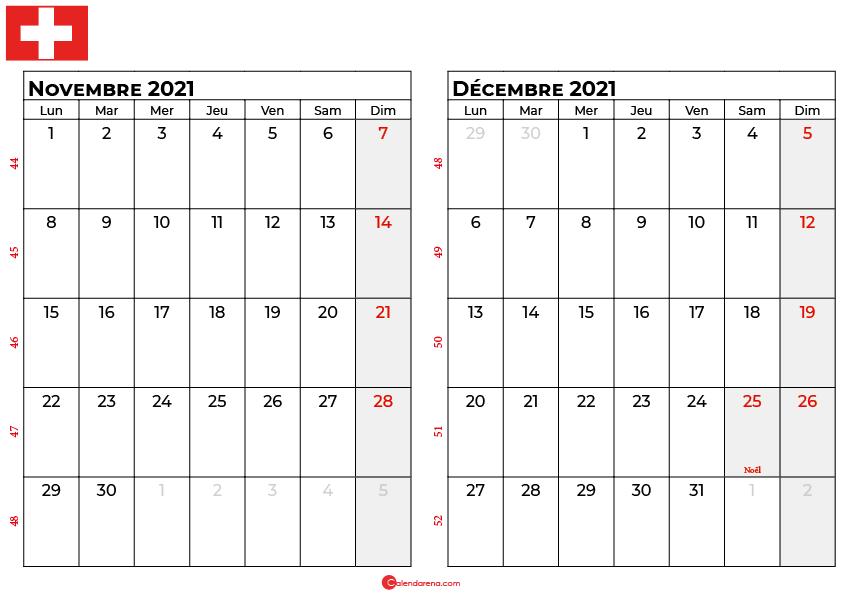 calendrier novembre décembre 2021 suisse