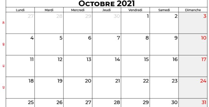 calendrier octobre 2021 Quebec