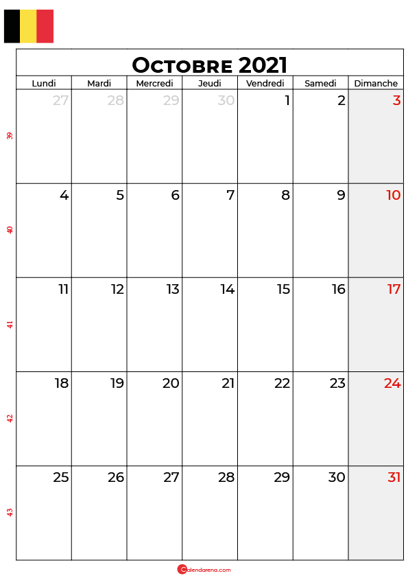 calendrier octobre 2021 à imprimer belgique