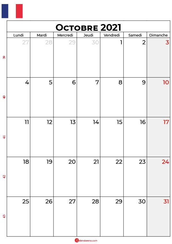 calendrier octobre 2021 à imprimer france
