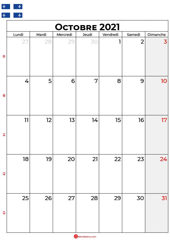 calendrier octobre 2021 à imprimer quebec