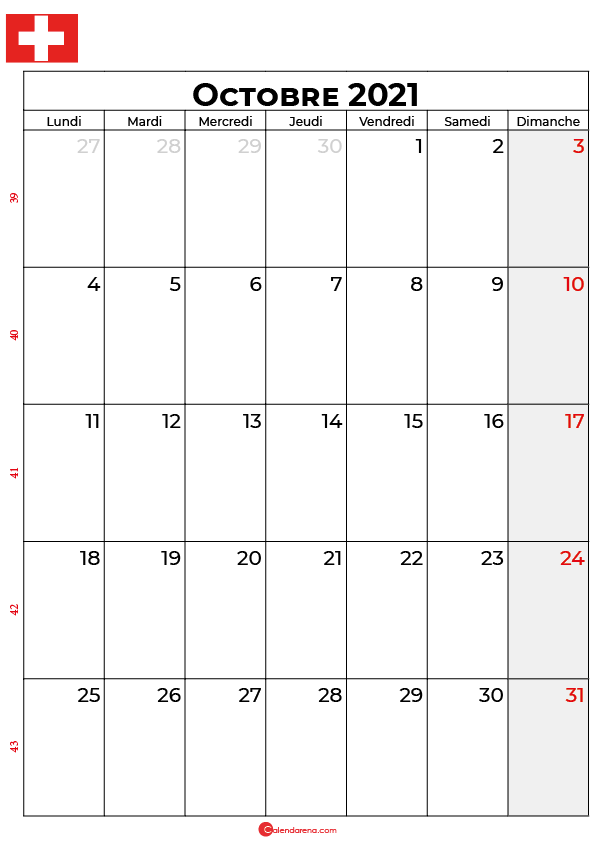 calendrier octobre 2021 à imprimer suisse
