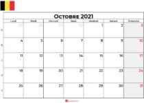 calendrier octobre 2021 belgique