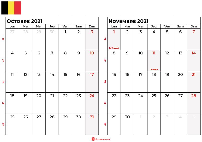calendrier octobre novembre 2021 belgique