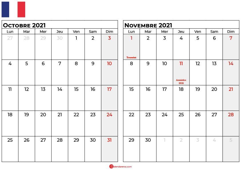 calendrier octobre novembre 2021 france