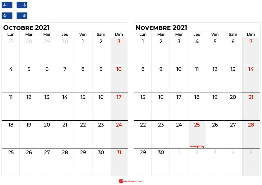 calendrier octobre novembre 2021 quebec