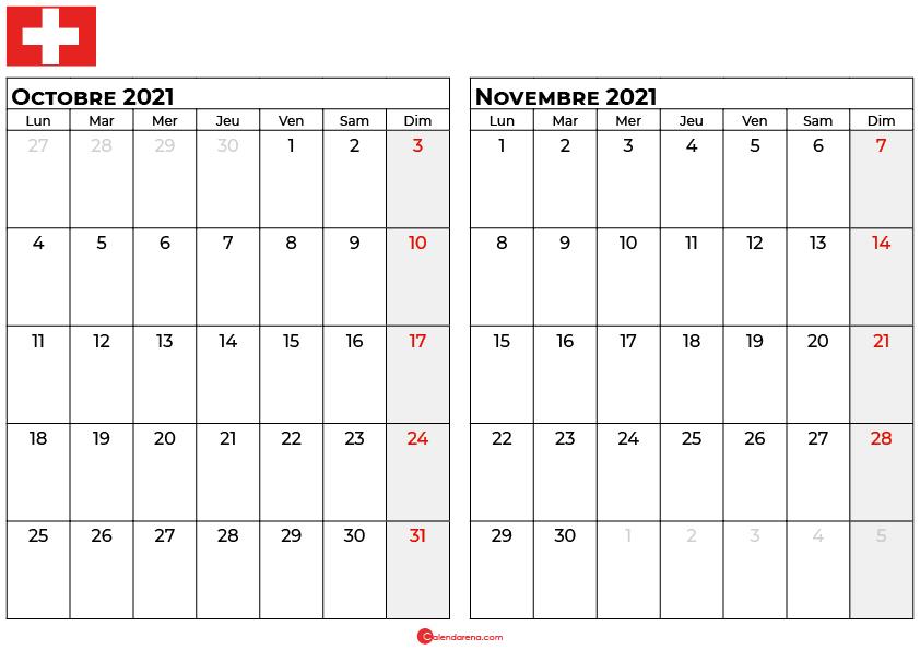 calendrier octobre novembre 2021 suisse