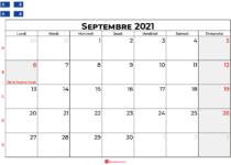 calendrier septembre 2021 Quebec
