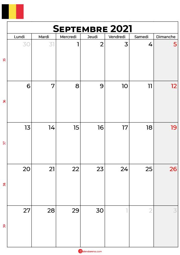 calendrier septembre 2021 à imprimer belgique