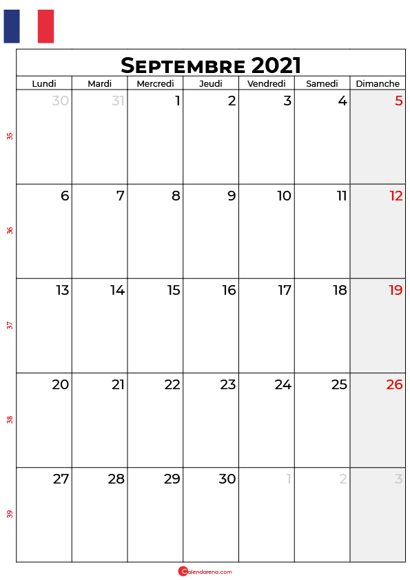calendrier septembre 2021 à imprimer france
