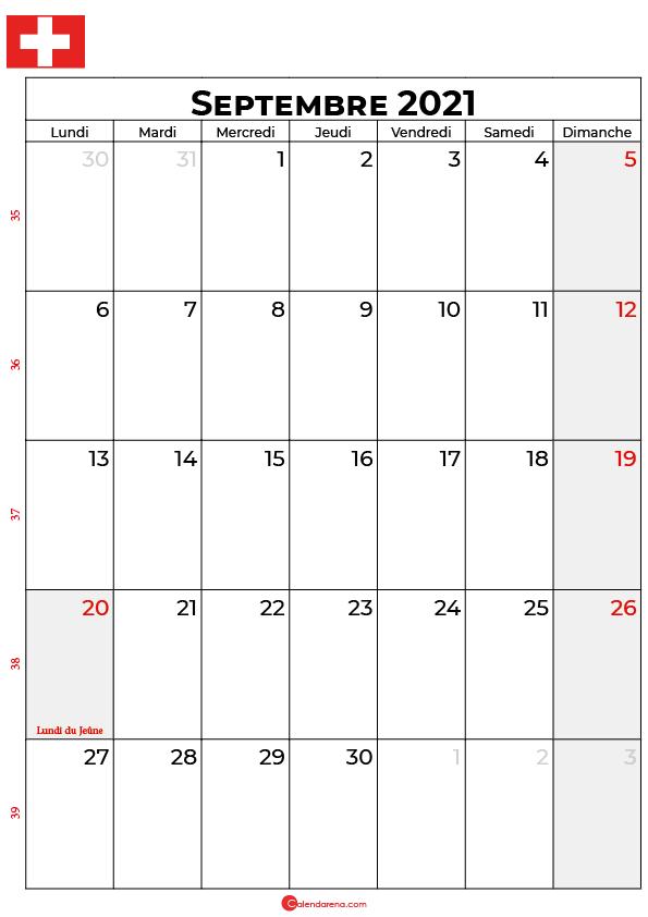 calendrier septembre 2021 à imprimer suisse