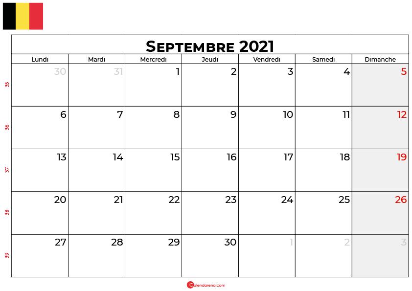 calendrier septembre 2021 belgique