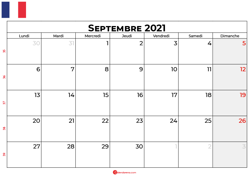 calendrier septembre 2021 france