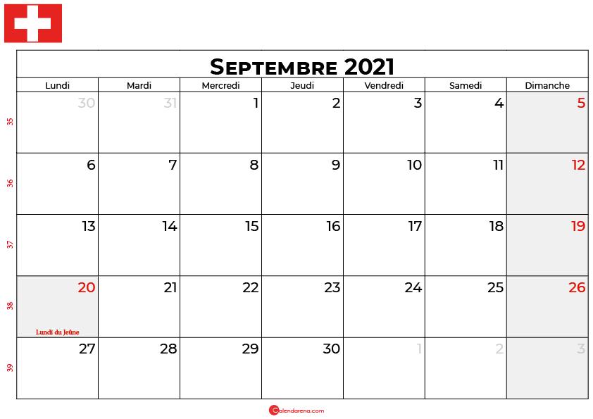 calendrier septembre 2021 swisse