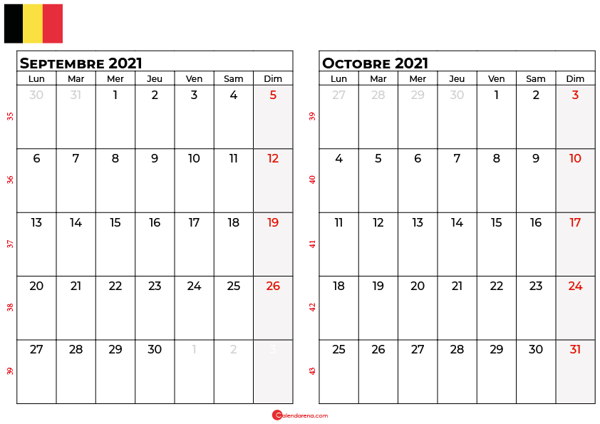calendrier septembre octobre 2021 belgique