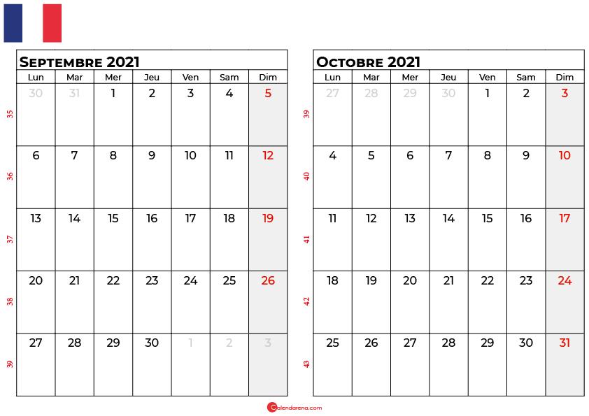 calendrier septembre octobre 2021 france
