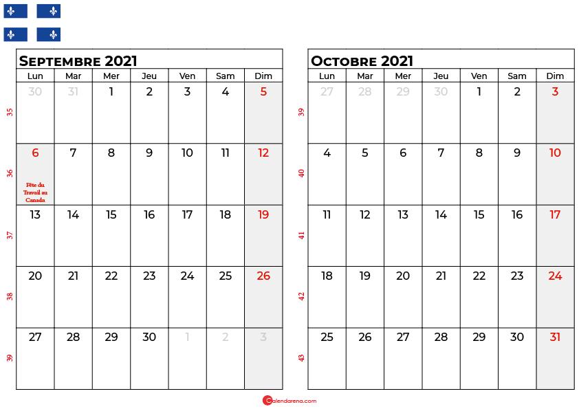 calendrier septembre octobre 2021 quebec