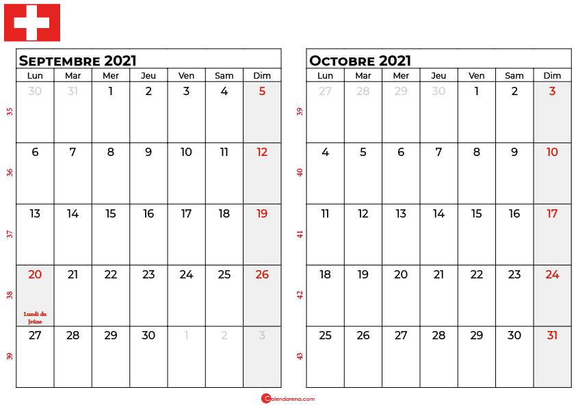 calendrier septembre octobre 2021 suisse