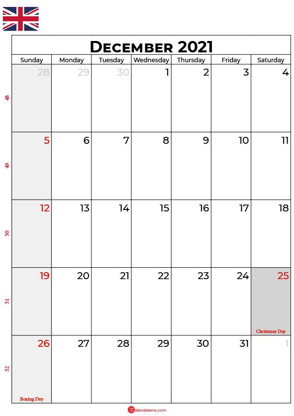 december 2021 calendar uk