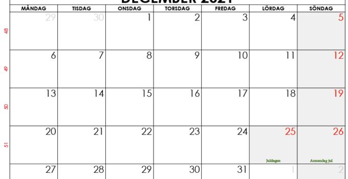 december 2021 kalender sw