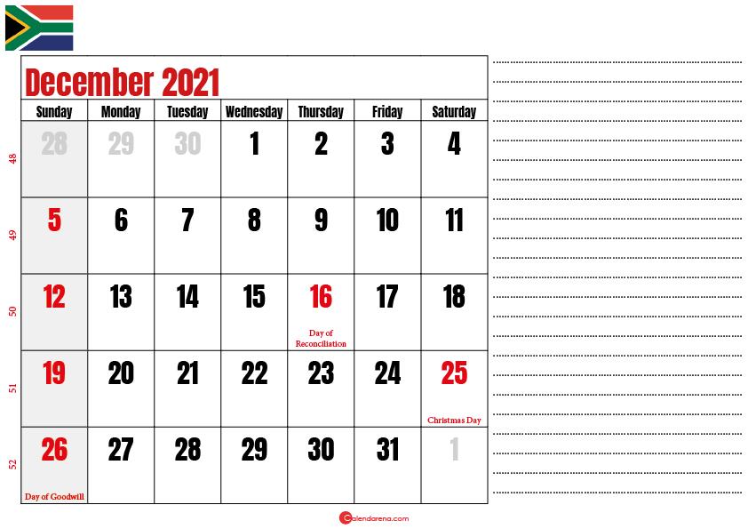 december 2021 printable calendar south africa