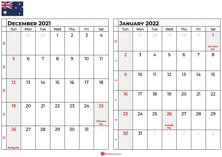 december and january 2022 calendar au