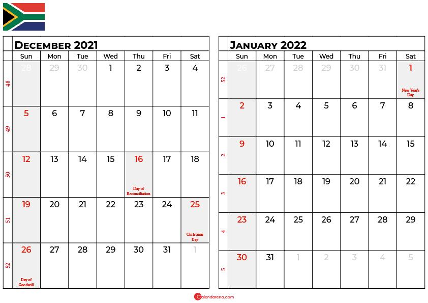 december and january 2022 calendar south africa