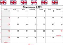 december calendar 2021 UK