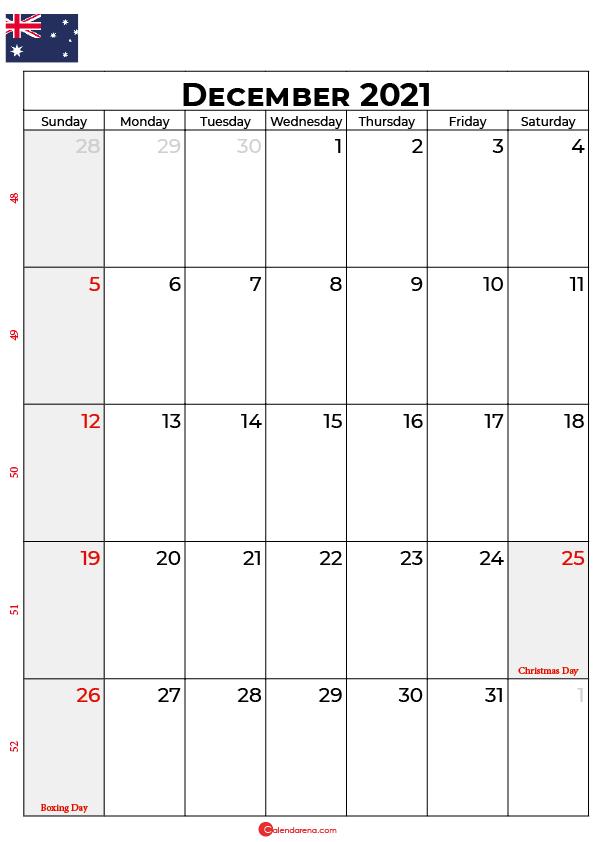 december calendar 2021 au