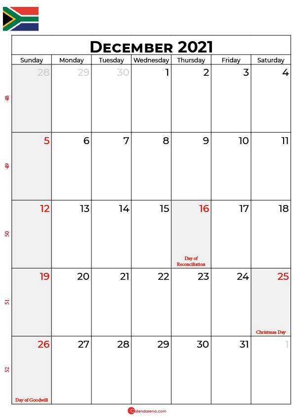 december calendar 2021 south africa