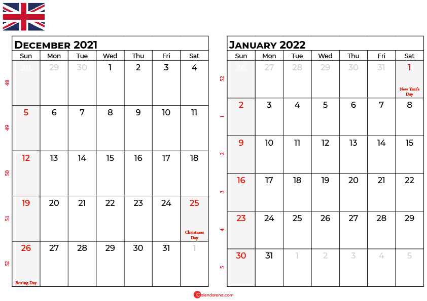 december january 2022 calendar UK
