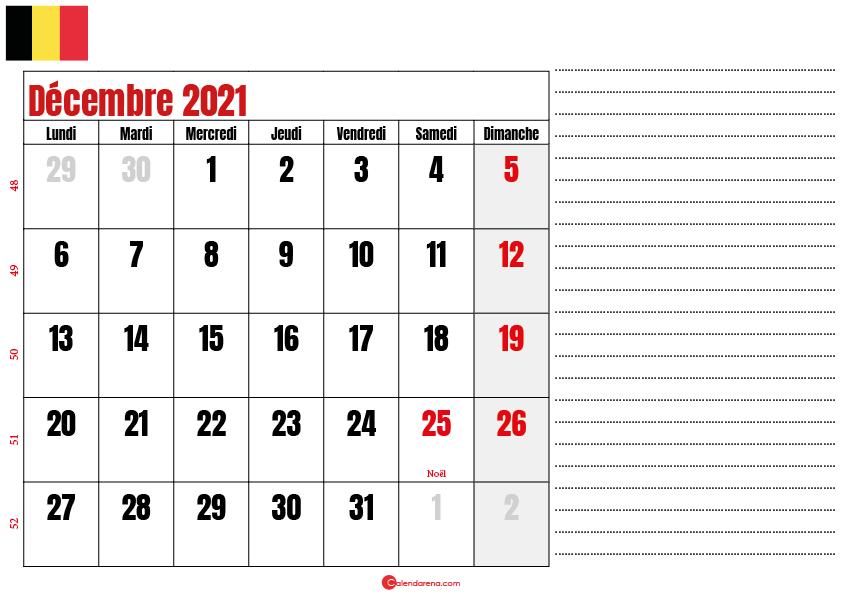 decembre 2021 calendrier belgique