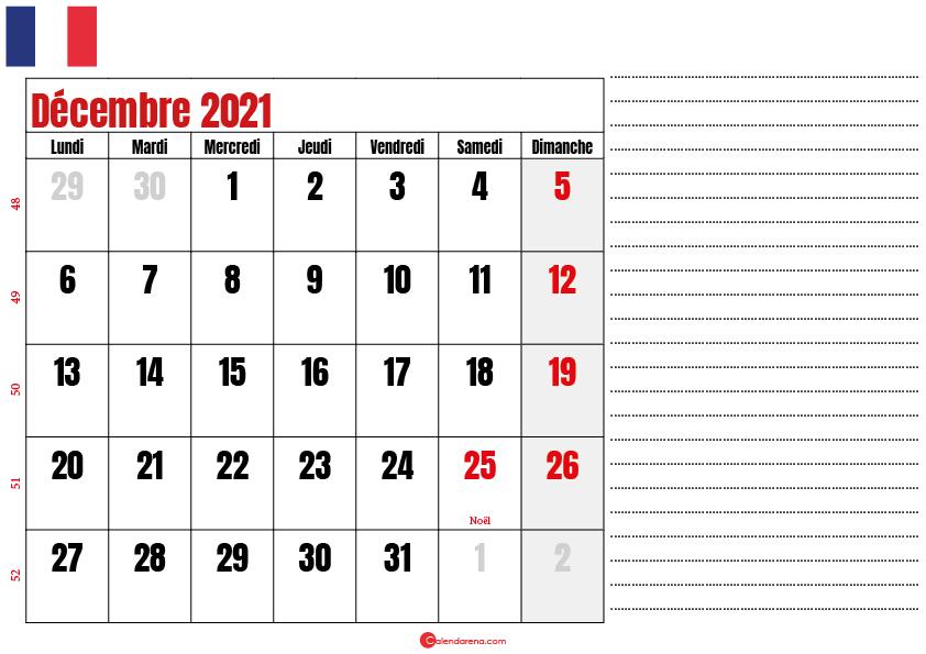 décembre 2021 calendrier france