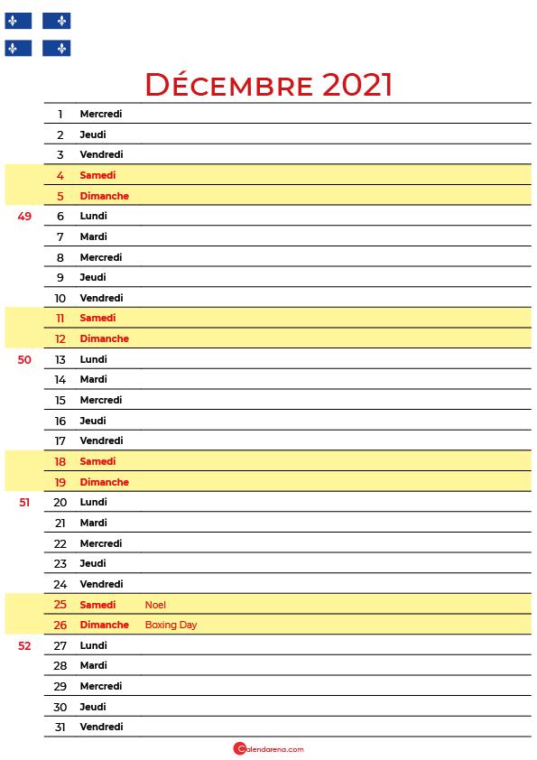 décembre 2021 calendrier quebec