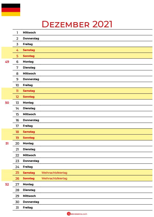 dezember 2021 kalender Deutschland