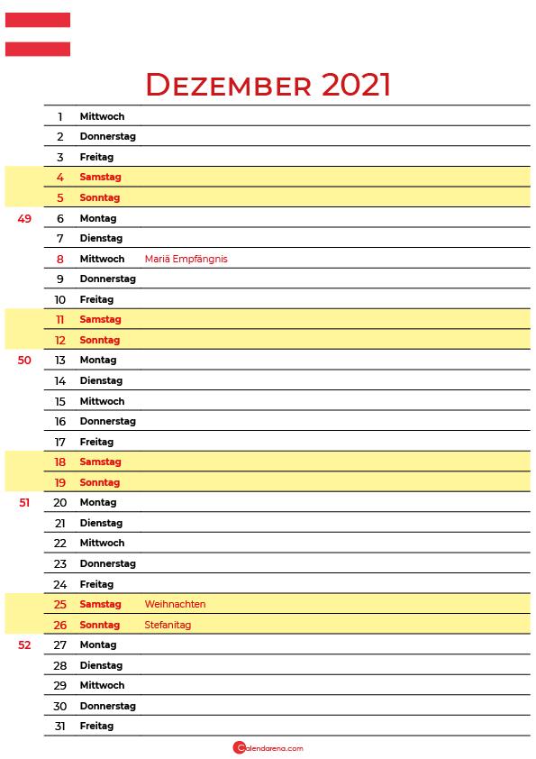 dezember 2021 kalender Österreich