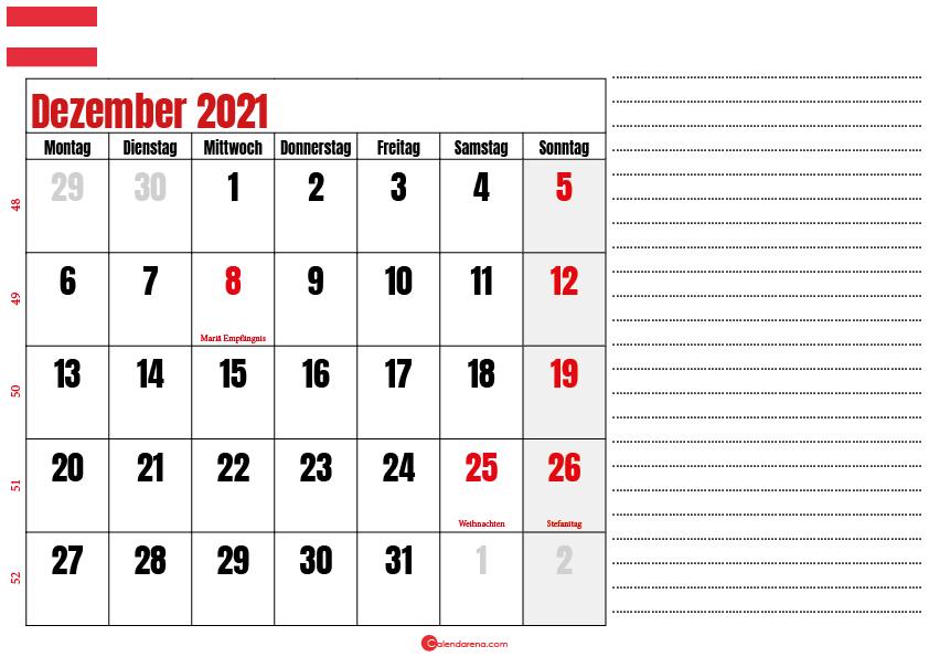 dezember kalender 2021 Österreich