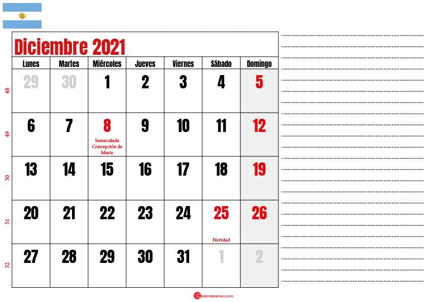 diciembre 2021 calendario argentina