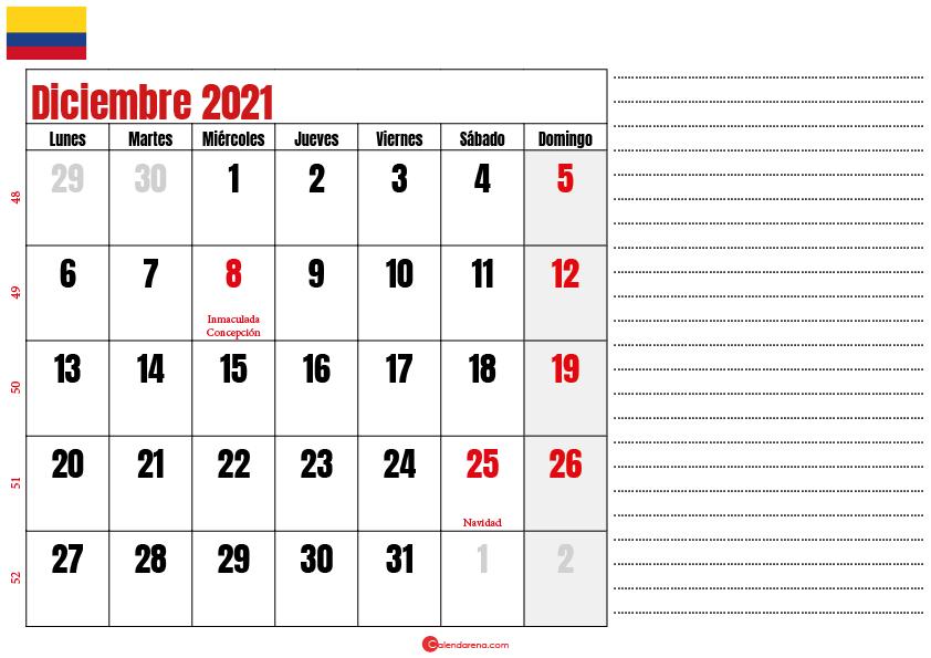 diciembre 2021 calendario colombia