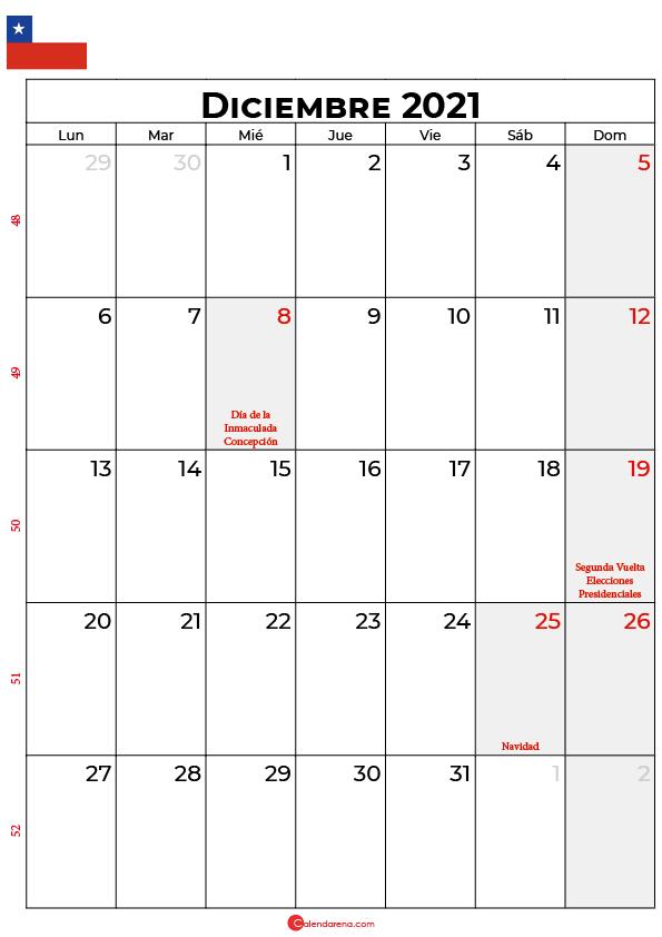 diciembre 2021 calendario