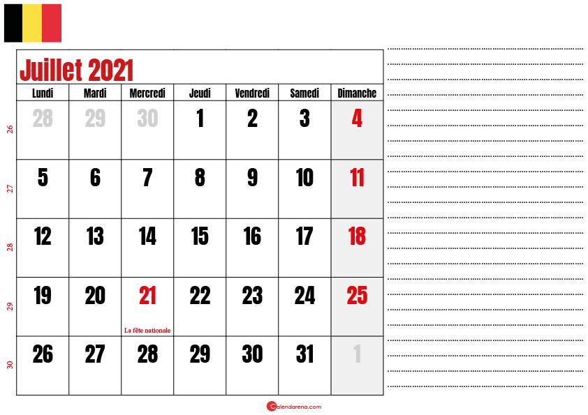 juillet 2021 calendrier belgique