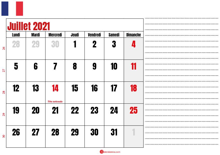 juillet 2021 calendrier france