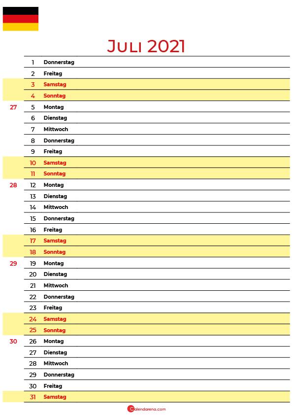 juli 2021 kalender Deutschland
