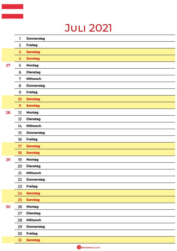 juli 2021 kalender Österreich